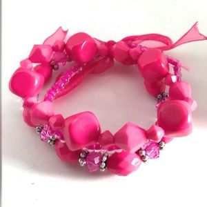 Hot Pink Beaded Bracelet Stretch Layered Stackable